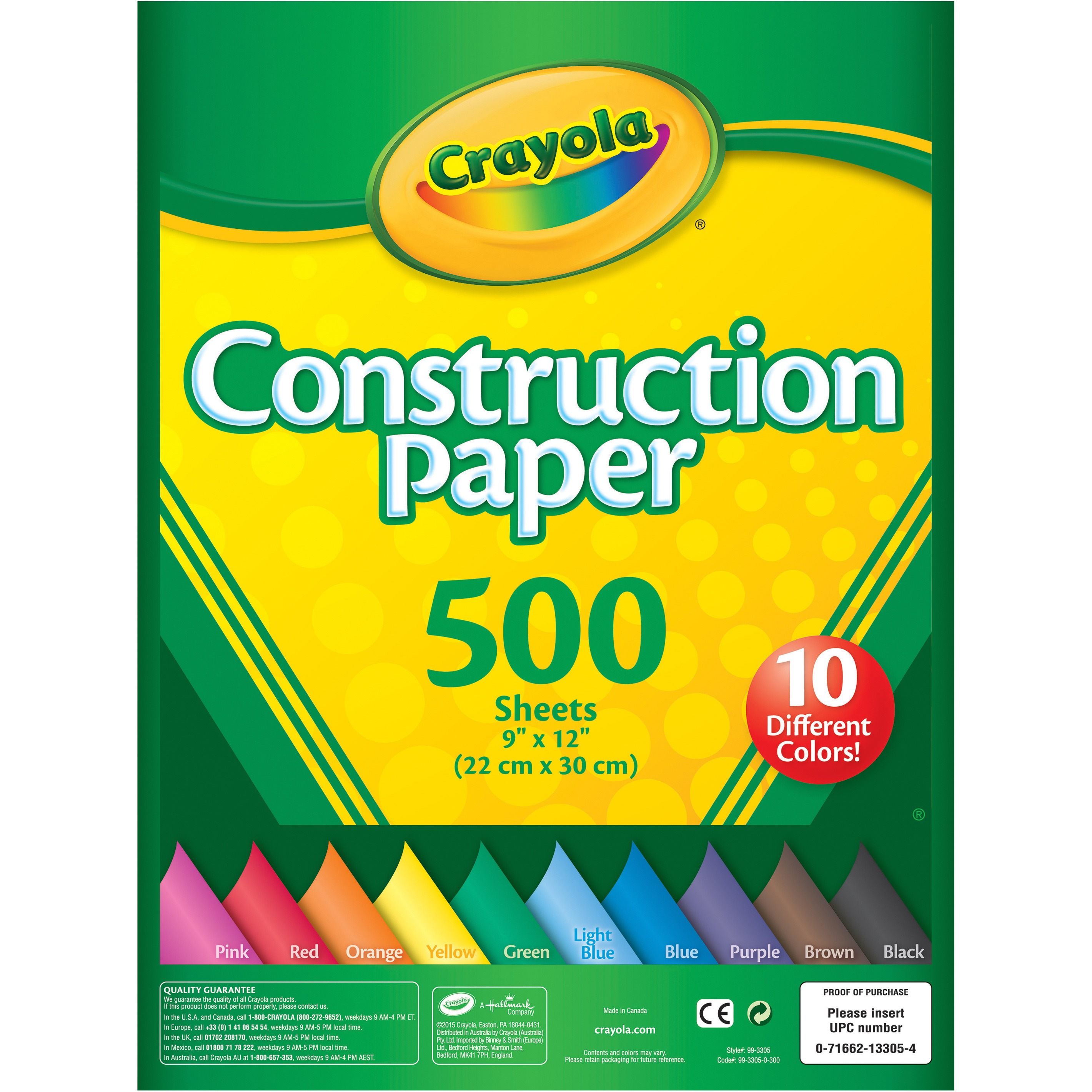 Crayola Construction Paper, 500-Count in 10 Colors by Crayola, LLC