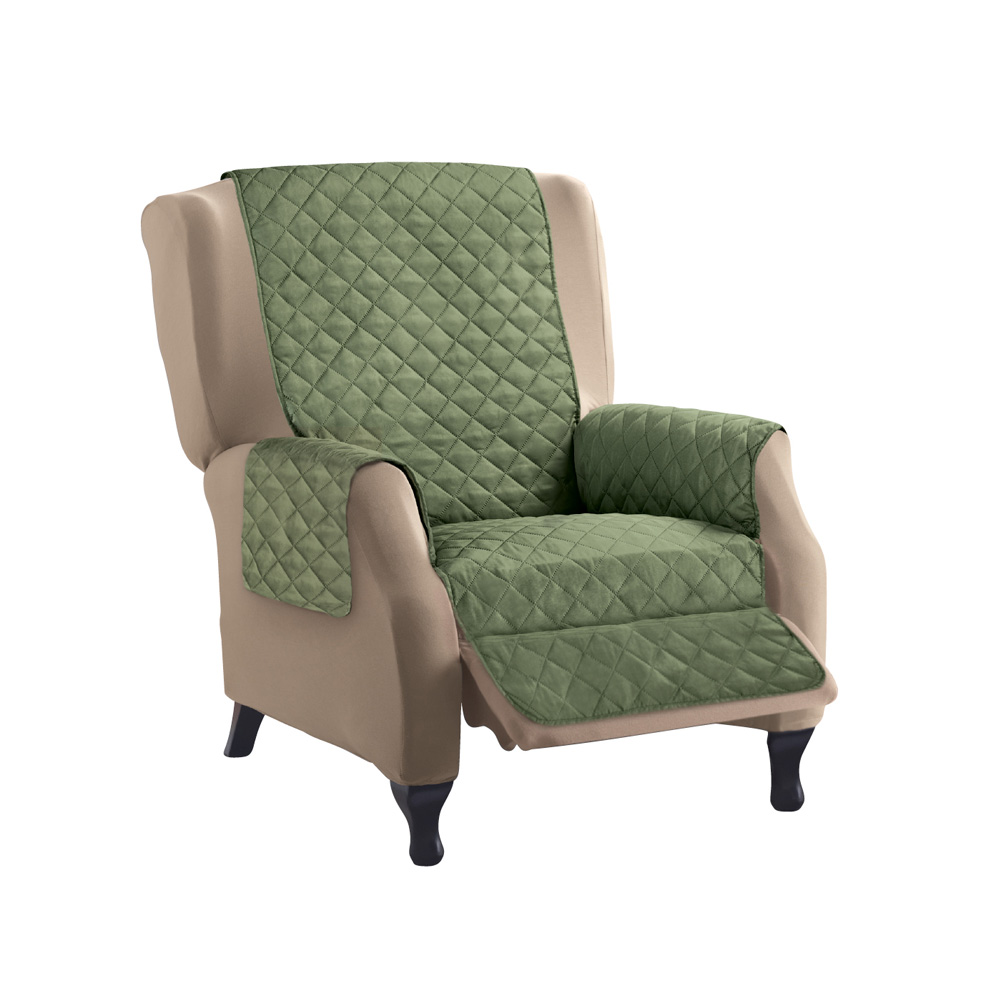 Reversible Quilted Furniture Protector Cover, Recliner, Olive/Sage