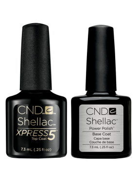 CND Shellac Power Nail Polish Base Coat & Xpress 5 Top Coat, 0.25 Oz Each