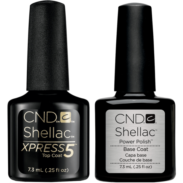 CND Shellac Gel Nail Polish, Power Nail Polish Base Coat & Xpress 5 Top Coat, 0.25 Oz Each