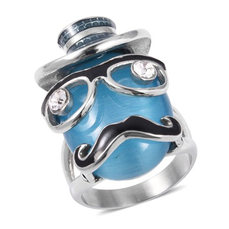 Stainless Steel Created Cats Eye Blue White Crystal Promise Statement Ring for for Women Jewelry Gift Size (White Cat With Blue Eyes For Sale)