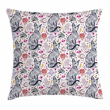 Egyptian Throw Pillow Cushion Cover Traditional Tattoo Pattern With