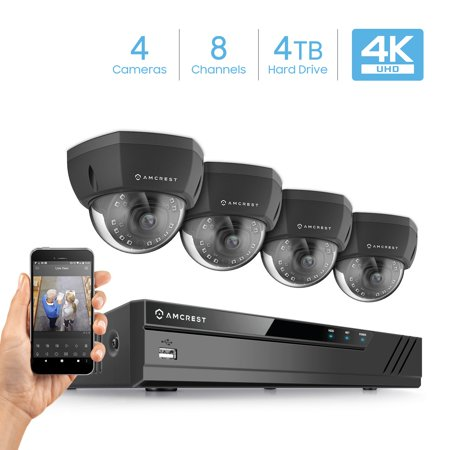 Amcrest 4K 8CH Security Camera System w/ 4K (8MP) NVR, (4) x 4K (8-Megapixel) IP67 Weatherproof Metal Dome POE IP Cameras (3840x2160),Pre-Installed 4TB Hard Drive (Black)