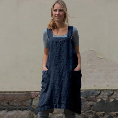 - Women Cotton Linen Pinafore Square Cross Apron Garden Work Pinafore Dress