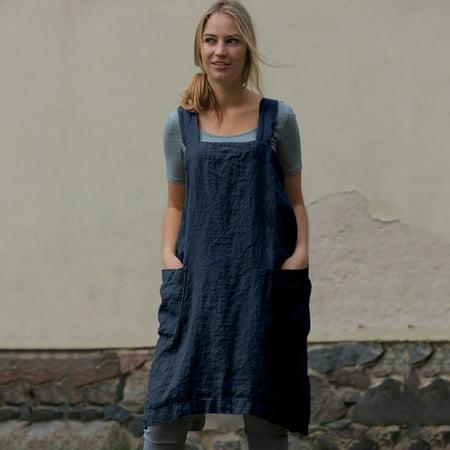 Women Cotton Linen Pinafore Square Cross Apron Garden Work Pinafore Dress (Wear Pinafore Dress)