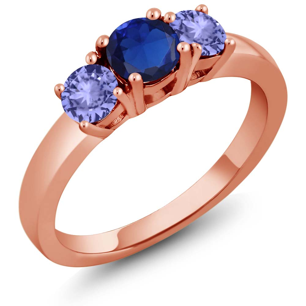 1.15 Ct Blue Simulated Sapphire Blue Tanzanite 925 Rose Gold Plated Silver Ring