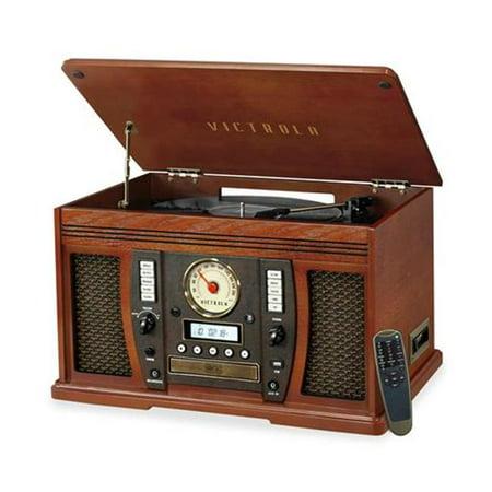 lecteur de musique portable en bois avec disque vinyle utilisé