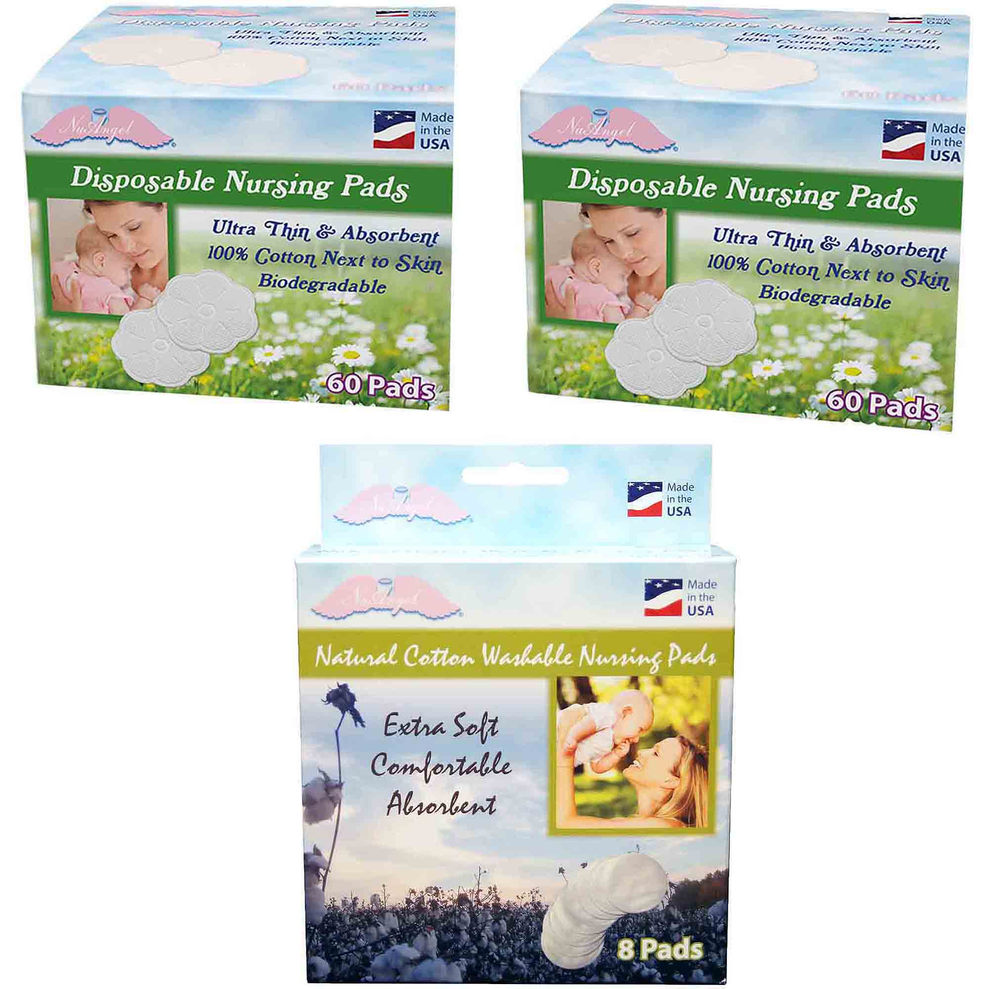 NuAngel All-Natural Washable Cotton & Biodegradable Disposable Cotton Nursing Pad Set, White by NuAngel