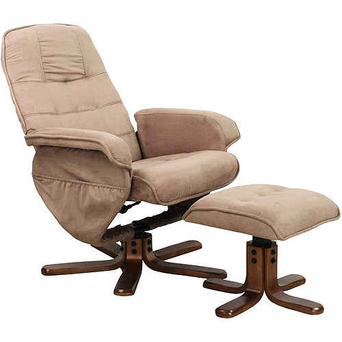 Euro Recliner Lounge Chair and Ottoman, Mocha