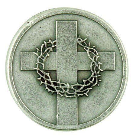 - Silver Tone Cross with Crown of Thorns Pocket Token with John 14:6 Scripture, 1 1/8 Inch