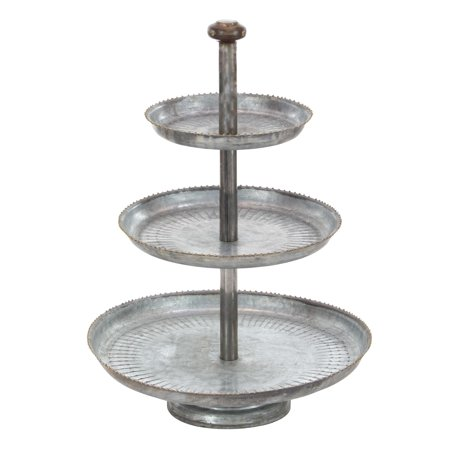 House Cake - Decmode Farmhouse 22 X 16 Inch Galvanized 3-Tiered Iron Cake Stand, Gray