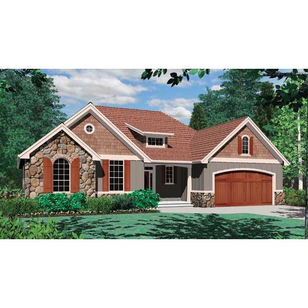 TheHouseDesigners-4582 Craftsman House Plan with Crawl Space Foundation (5 Printed Sets)