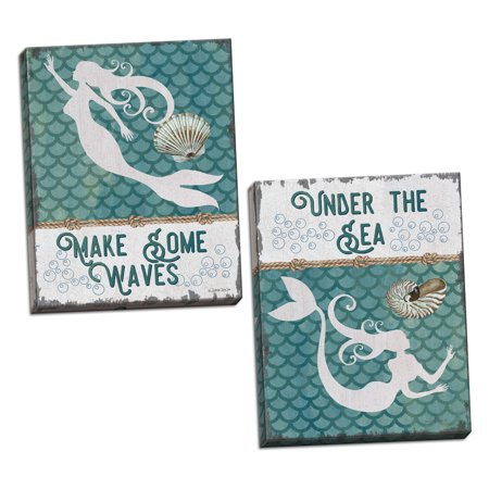 Gango Home Decor Traditional Under the Sea Mermaid & Make Some Waves Mermaid by Debbie DeWitt (Ready to Hang); Two 12x16in Hand-Stretched Canvases