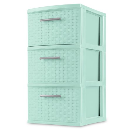 Sterilite, 3 Drawer Weave Tower, Classic Mint, Case of 2 (Triangle Weave)