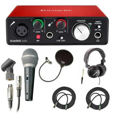 focusrite scarlett solo usb audio interface w microphone headphone bundle. Black Bedroom Furniture Sets. Home Design Ideas