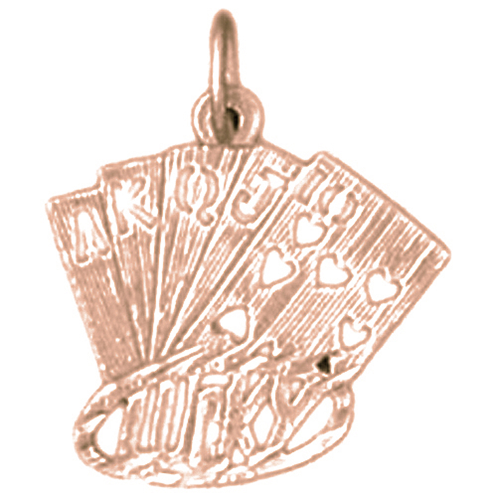 14K Rose Gold Playing Cards, Lucky Flush Pendant - 19 mm