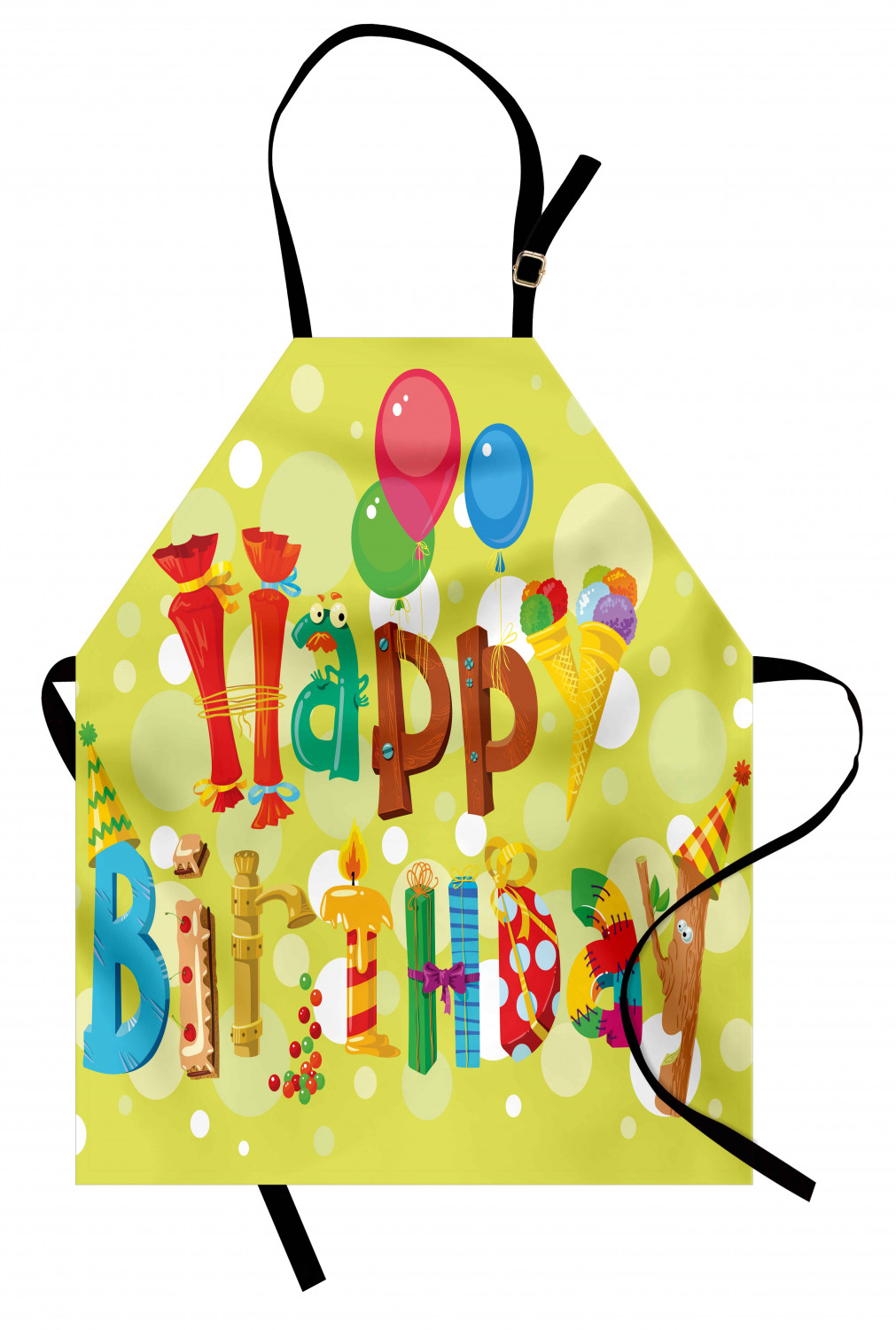 Birthday Apron Happy Birthday In Cute Shapes Funny Figures With Ice Cream Candies And Balloons Unisex Kitchen Bib Apron With Adjustable Neck For Cooking Baking Gardening Multicolor By Ambesonne Walmart Com