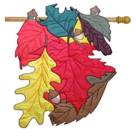 Fall Leaves 3d Applique House Flag Embroidered Acorns