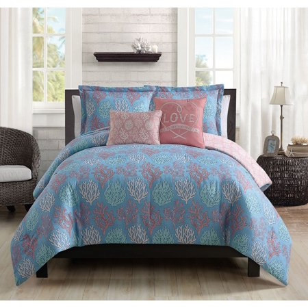 5 Piece Venice Beach Blue/Coral Comforter Set
