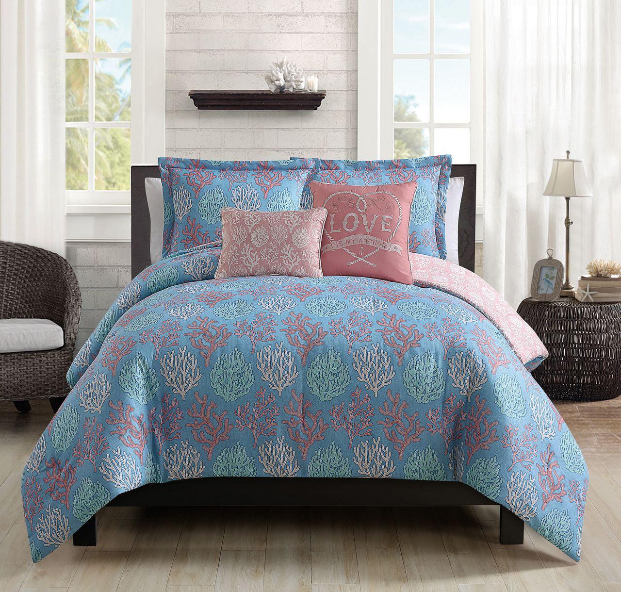 5 Piece Venice Beach Blue/Coral Comforter Set