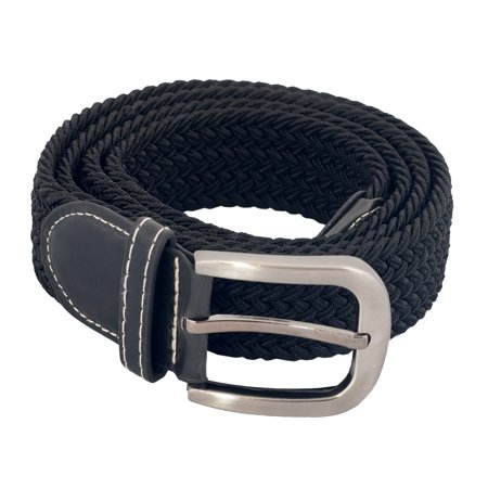 eVogues Plus Size Braided Woven Stretch Belt Black