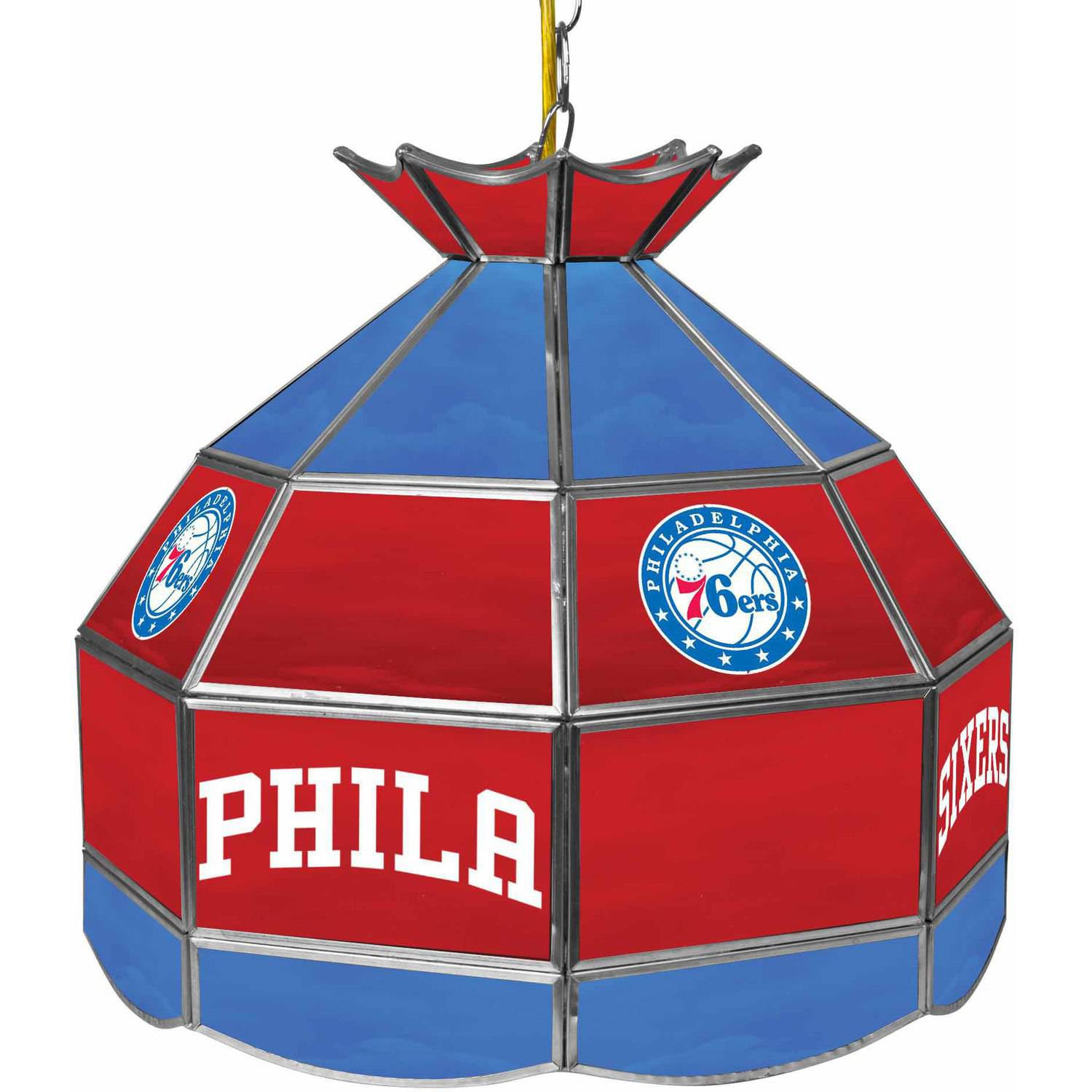 "Trademark Global Philadelphia 76ers NBA 16"" Stained Glass Tiffany Lamp Light Fixture"