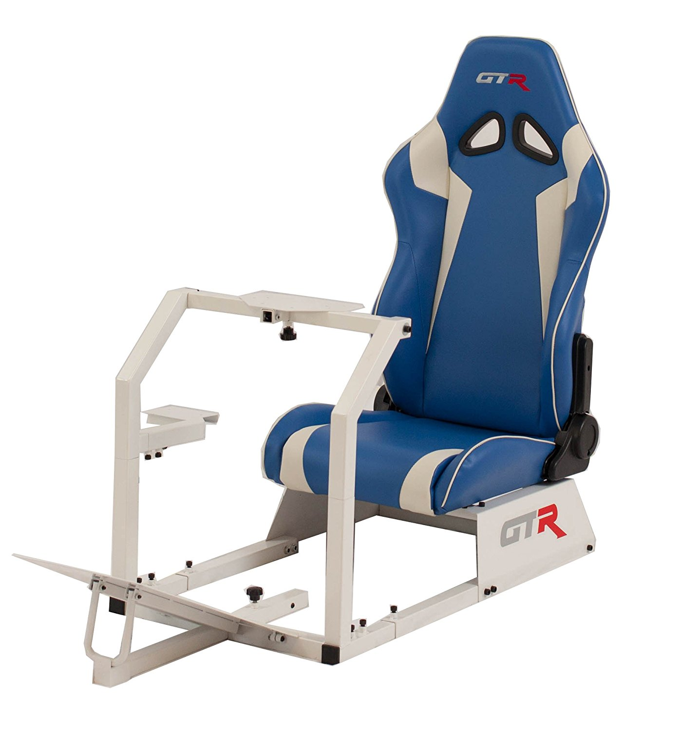 GTR Racing Simulator GTA-WHT-S105LBLWHT GTA 2017 Model White Frame with Blue/White Real Racing Seat, Driving Simulator Cockpit Gaming Chair with Gear Shifter Mount