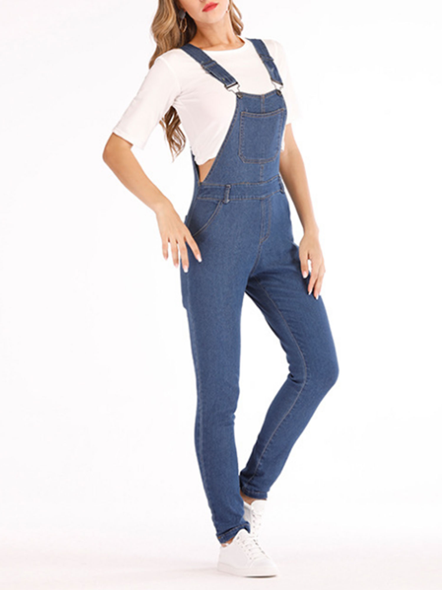 Women Ripped Denim Jumpsuit Dungarees Overall Jeans Playsuit Long Pants Trousers