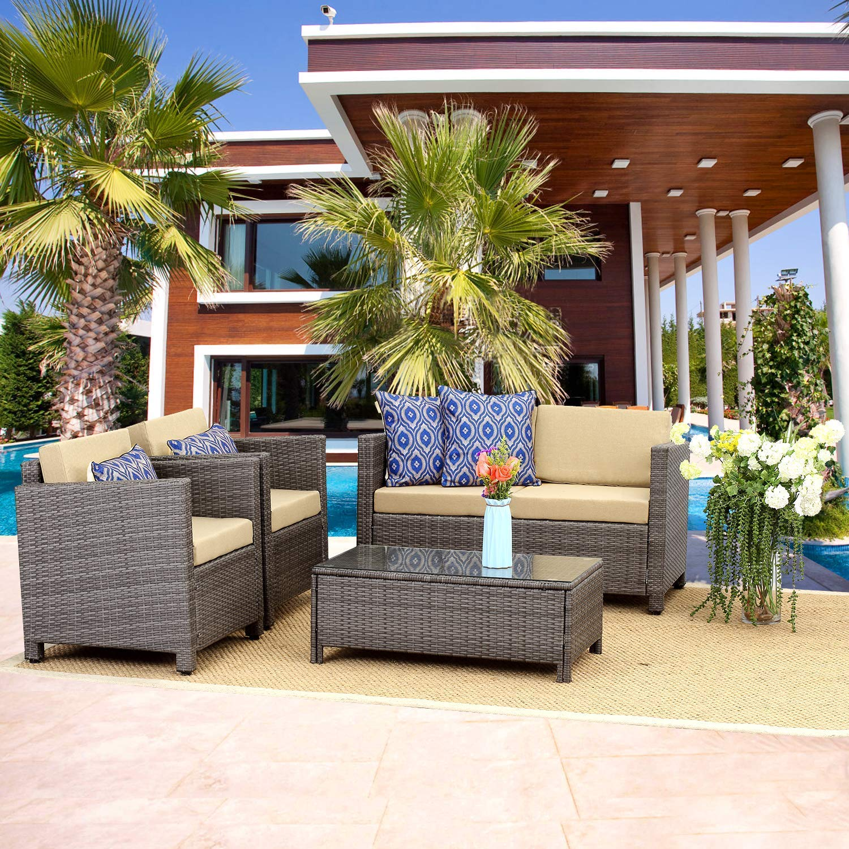 Outdoor Patio Furniture Set 5 Piece Conversation Set Wicker Sectional Sofa Loveseat Chair Gray Wicker Tan Cushions Walmart Com Walmart Com