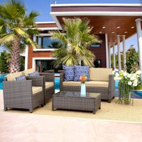 Outdoor Patio Furniture Set,5 Piece Conversation Set Wicker Sectional Sofa Loveseat Chair Gray Wicker,Tan Cushions