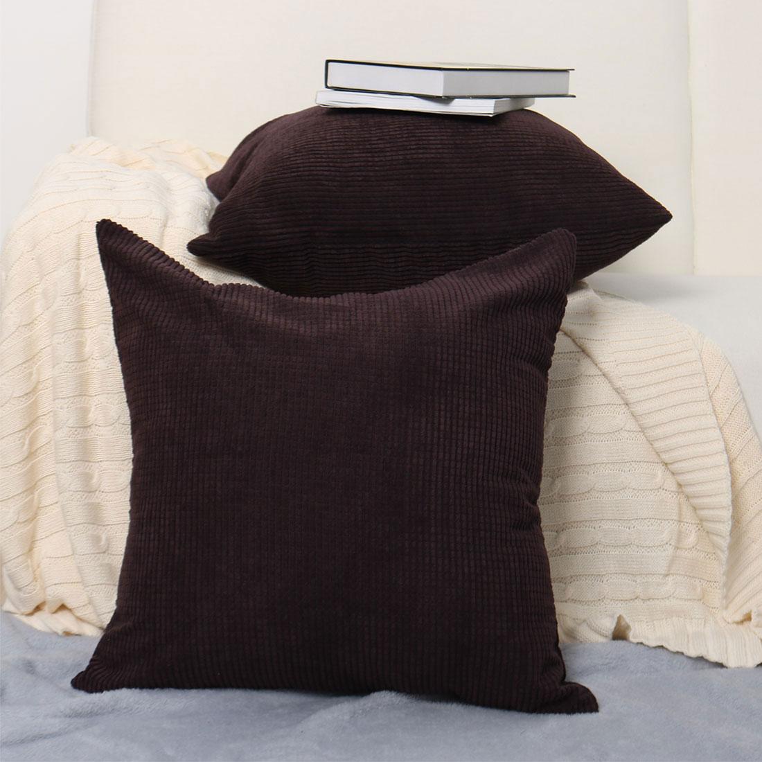 Home Sofa Cushion Cover Corduroy Striped Decorative Throw Pillow Case Set