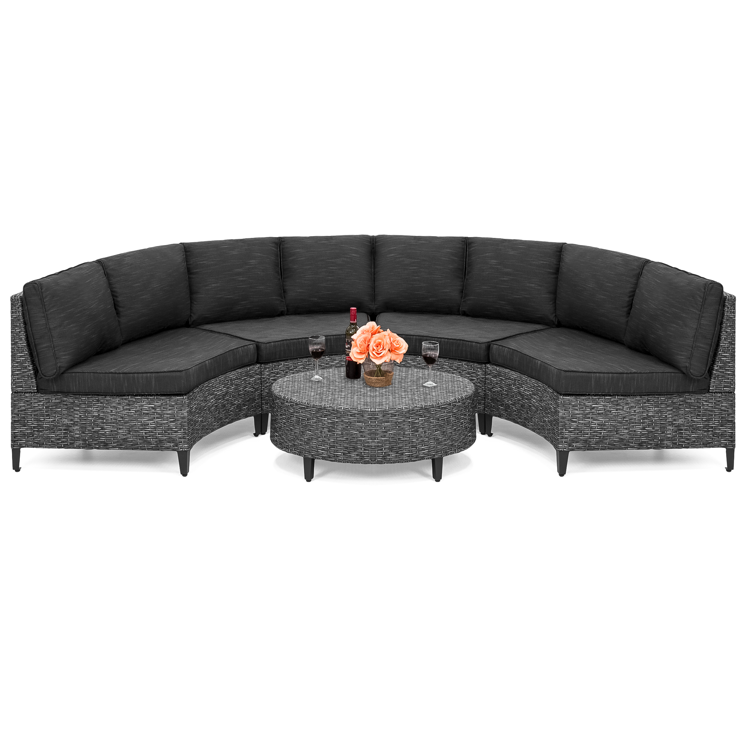 Best Choice Products 5 Piece Modern Outdoor Patio Semi Circle Wicker Sectional Sofa Set W 4 Seats Coffee Table Gray