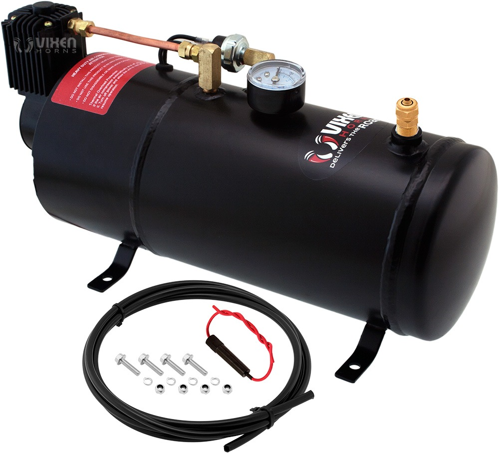Vixen Horn 1 Gallon (3 Liter) Train/Air Horn Tank with 150 PSI Compressor Onboard System/Kit 12V VXO8210
