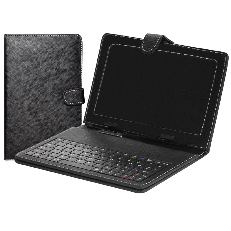 "SuperSonic SC107KB 7"" Tablet Folio Case with Keyboard (Black) - NEW"