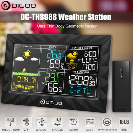 DIGOO Indoor Wireless Outdoor Thermometer Digital Hygrometer Weather Forecast Station for Home with Outdoor Sensor,Super Thin Design,Colorful Large Screen,Sunrise Sunset