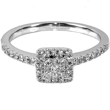 1/3 Carat T.W. Square Diamond 10kt White Gold Engagement