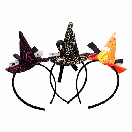 Girl12Queen Cobweb Witch Hat Headband Hairband Women Halloween Party Props Hair Accessories
