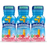 PediaSure Grow & Gain Kids Nutritional Shake, with Protein, DHA, and Vitamins & Minerals, Strawberry, 8 fl oz (Choose Pack)