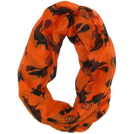 Women's Halloween Holiday Witch Silhouette Infinity Loop Scarf (Halloween Witch Silhouette)