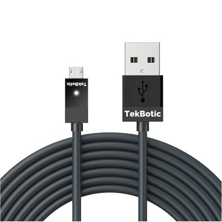 tekbotic ChargePlay Micro USB cable 9ft black for Xbox One controller USB,  PS4 controller charger cable, and Android data transfer + charging cord