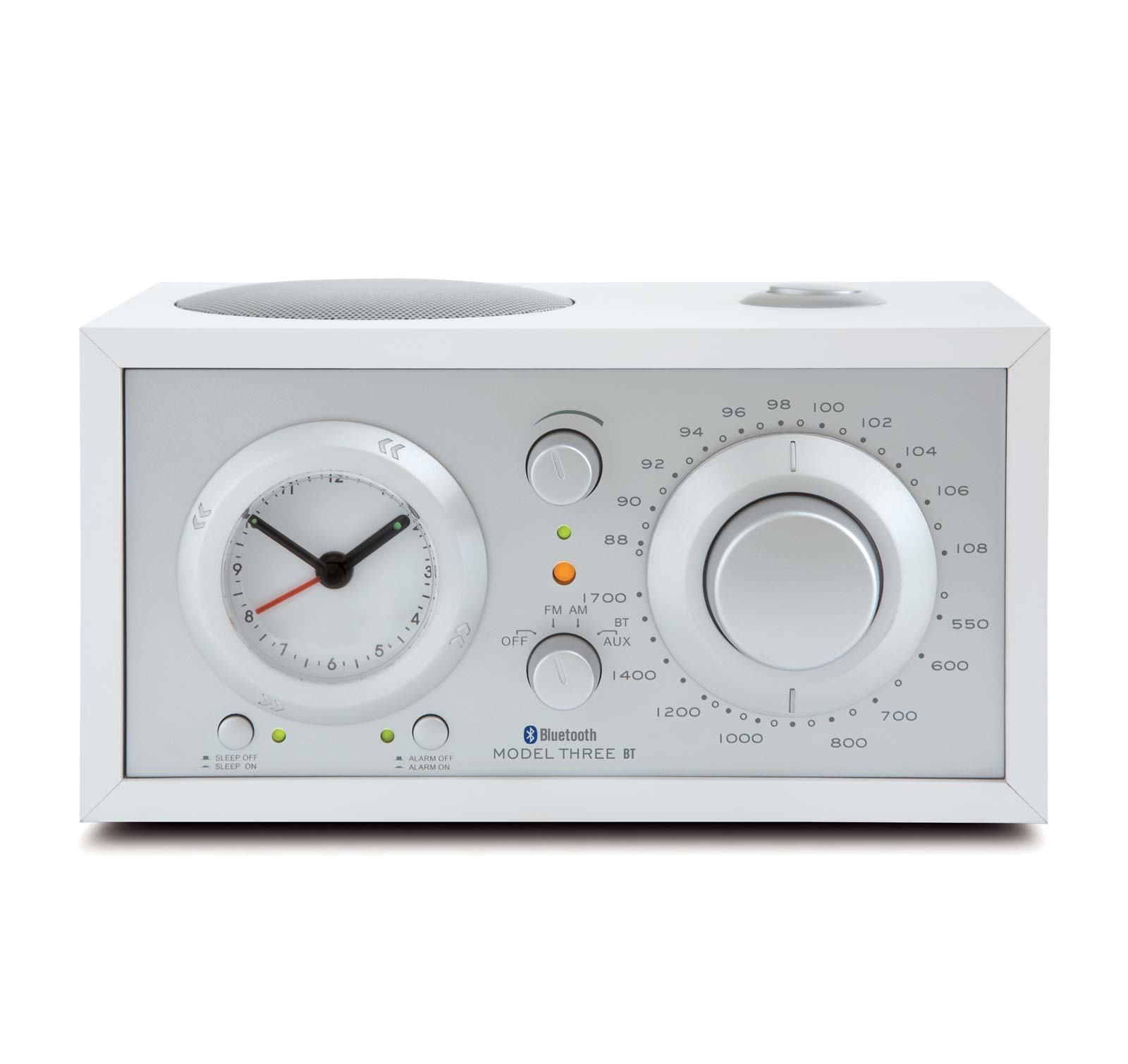 Tivoli Audio Model Three BT White Silver AM FM Clock Radio with Bluetooth by Tivoli