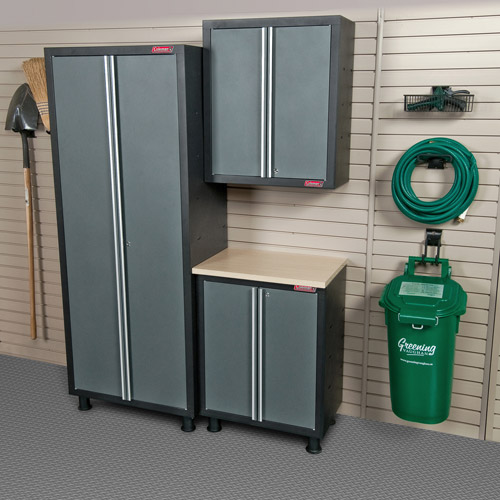 Merveilleux Coleman 3pc Garage Cabinet Set With 2 Door Base Unit, Grey