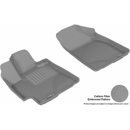 3D MAXpider 2008-2013 Toyota Highlander Gas Front Row All Weather Floor Liners in Gray with Carbon Fiber Look Carbon Fiber Gas Cap