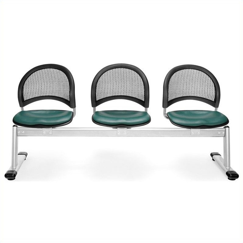 OFM Moon 3 Beam Seating with Vinyl Seats in Teal
