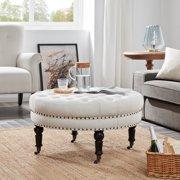 Belleze Beige Linen 33-inch Tufted Round Accent Ottoman Foot Stool Large w/ Caster Wheel, Beige