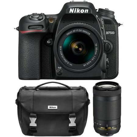 Nikon D7500 Digital SLR Camera with 18-55mm + 70-300mm VR DX AF-P Lenses + Case