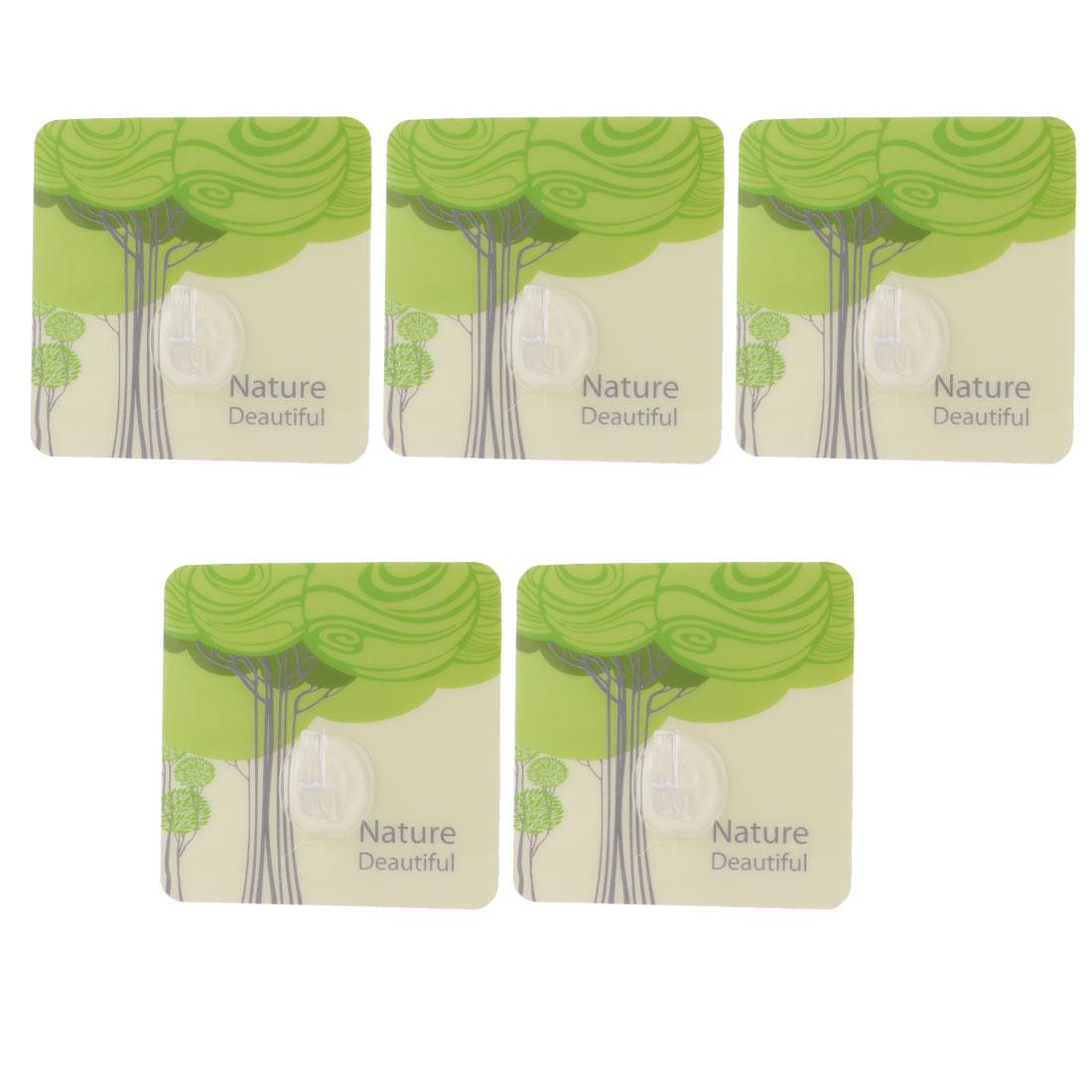 Home PVC Square Tree Pattern Wall No Scratch Seamless Adhesive Hooks Green 5pcs