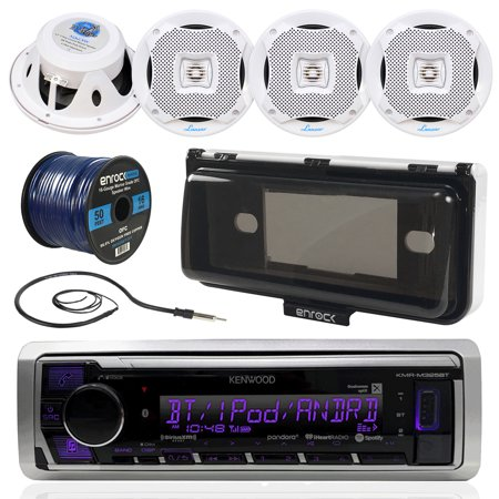 Kenwood KMR-M325BT In-Dash Marine Boat Audio Bluetooth USB Receiver W/ Waterproof Protective Cover Bundle Combo With 4x 400W 6.5