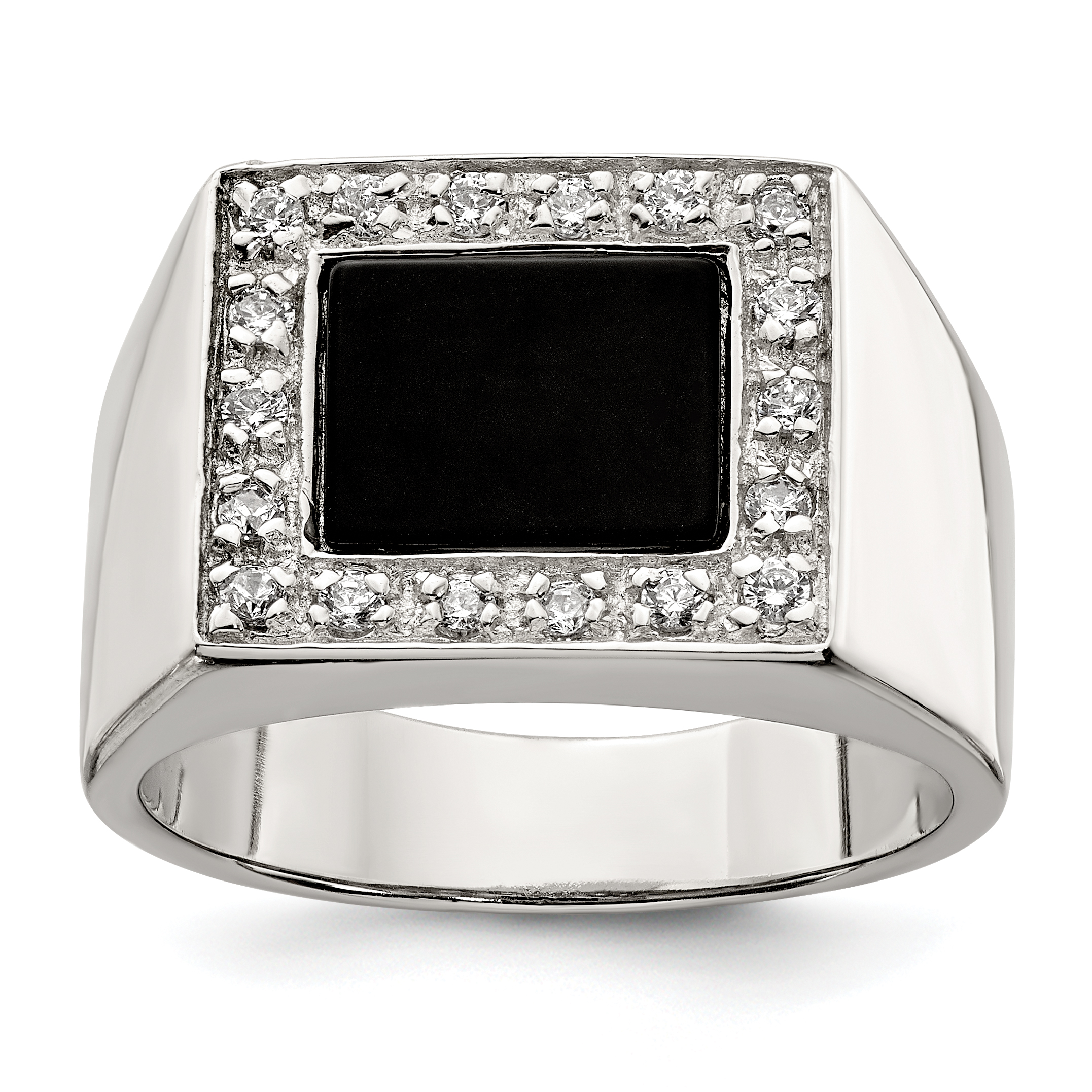 925 Sterling Silver Mens Cubic Zirconia Cz Black Onyx Band Ring Size 9.00 Man Fine Jewelry Gift For Dad Mens For Him - image 2 de 2