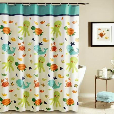 Tayyakoushi Funny Kids Shower Curtain Cartoon Nautical Tropical ...